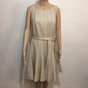 Calvin Klein Tan Linen Blend Fit And Flare Dress